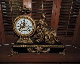 Ansonia Mantel Clock- Classical seated women figural