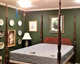 Lot #1  Queen 4 poster bed with mattress set  $300.00