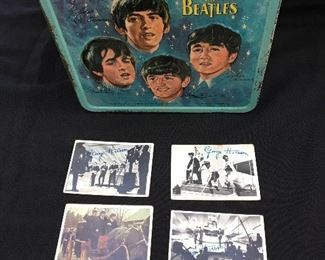 Beatles Metal Lunch Box and Beatles Cards (2nd Series - #68, #87, #103 and #16 Color Card).