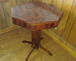 Beautiful  handmade inlay table from wood from the Thomaston Mills