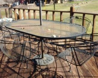 Glass top table patio set