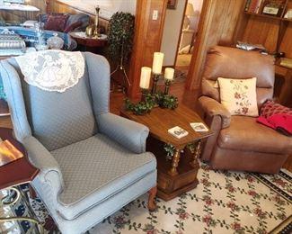 Pretty blue Queen Anne chair