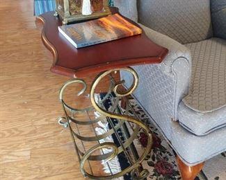 Love this mahogany table with iron legs