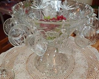 Beautiful vintage Star of David Crystal punch bowl with the base very hard to find