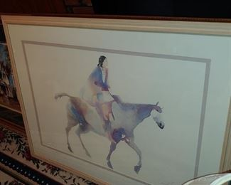 Watercolor Indian on horseback