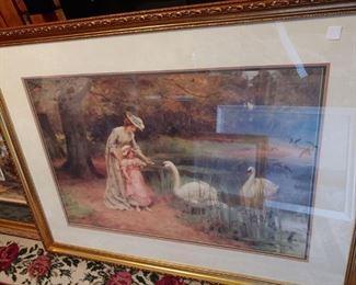 Beautiful lithograph of lady feeding swans