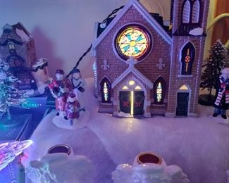 Beautiful Church with lights... check out the beautiful stained glass window