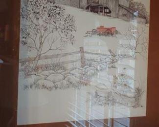 Beautiful original art of Old Barn