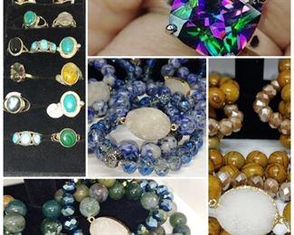 Rainbow topaz sodalite beads amazonite beads Zircon sterling silver Italian earrings and more