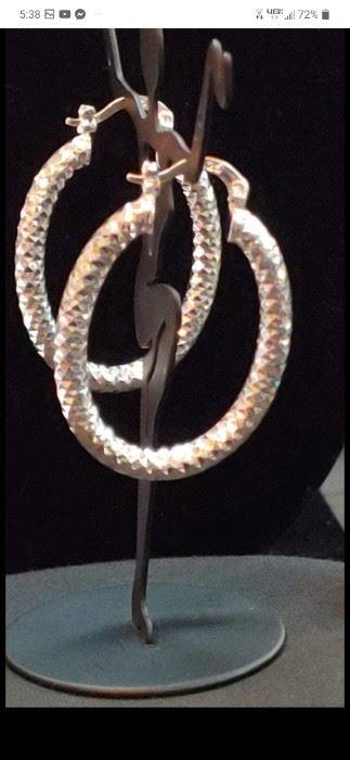 Sterling silver Italy diamond cut hoop earrings