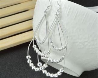 Italian sterling silver bead earrings