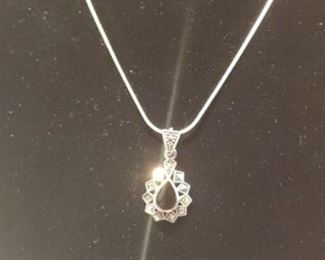 Sterling silver marcasite Onyx necklace