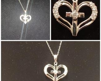 Sterling silver heart cross necklace