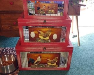 Beautiful decorative chicken boxes buy it now 50.00