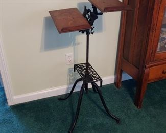 Antique cast iron & Oak music stand buy it now 150.00