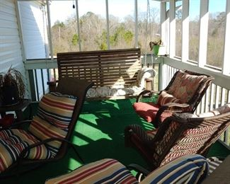 Screened in porch and open ports both full of furniture  Patio furniture outdoor furniture