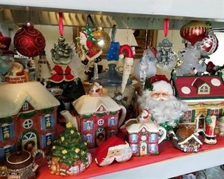 Amazing assortment of Christmas decorations Thomas Kinkade Fitz and Floyd and more
