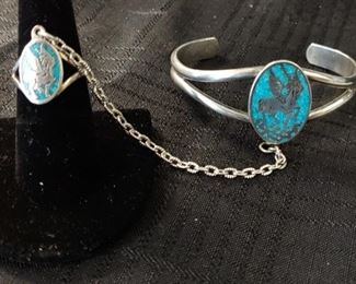 Beautiful turquoise sterling silver inlay slave ring bracelet