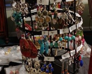 Lots of earrings and other costume jewelry