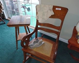Beautiful antique oak rocker and antique oak table