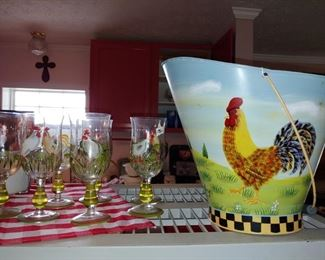 Crystal glasses and rooster bucket