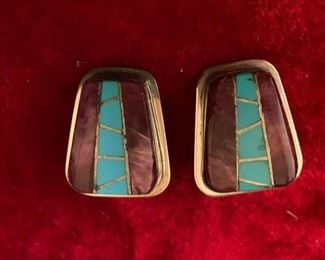 Ellouise Padilla, Native American, stone and sterling earrings