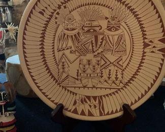 Southwest pottery plate featuring incised Katsina