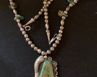 Turquoise  pendant on sterling bead chain