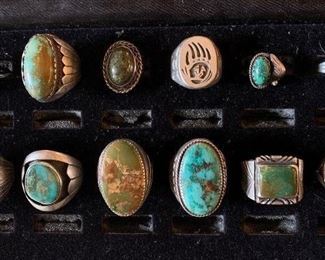 Mens Native American turquoise rings and three women's Native American  turquoise rings, many are signed including Gene Jackson, Navajo