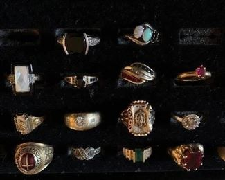 Sterling, and some gold and semi precious stone rings