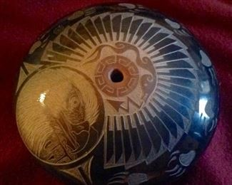 Santa Clara Publo, jewel size, Sgraffito carved pot by Kevin Naranjo. Notice the eagle's head within a circle. Client paid $485.00, you will be able to purchase for a fraction of this price.