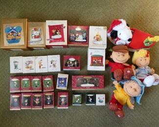 Peanuts Hallmark ornaments and toys