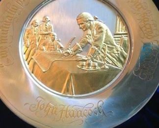 Sterling silver bicentennial plate depicting John Hancock