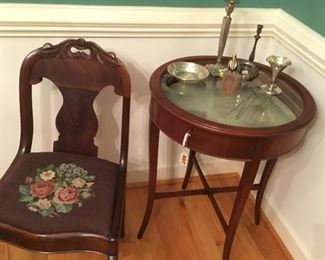 """Victorian side chair, silver-plate and a """"whatnot"""" table"""
