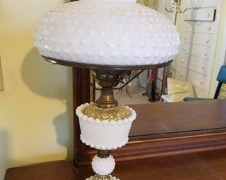 Vintage Hurrincane Milk Glass Hobnail Lamp