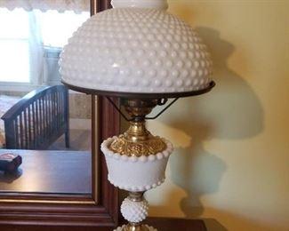 Vintage Hurricane Milkglass Table Lamp