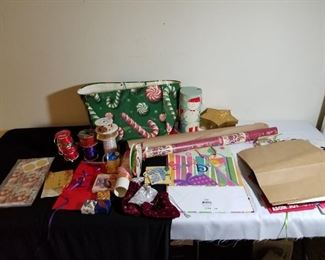 Assortment of Christmas Gift Wrapping Items