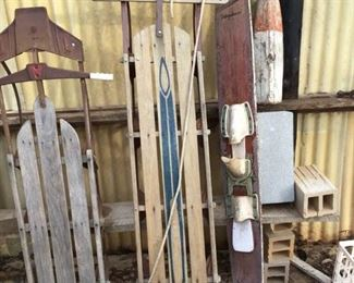 Vintage Sleds, Ski, and Bouy