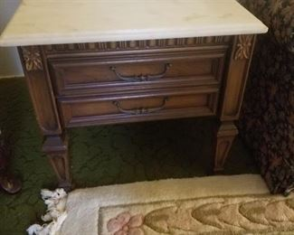 Vintage Side Table with Marbled Top