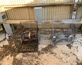 One Dog Crate and Two Cages