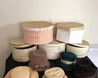 Assortment of Ladies Hats with Hatboxes