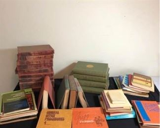 Assortment of Vintage Encyclopedias and Books