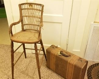 Vintage High Chair and Suitcase