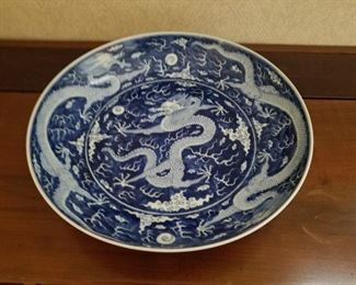 """Large Chinese Blue and White dragon decorated charger. 14.5"""" diameter. Underglaze blue mark on underside."""