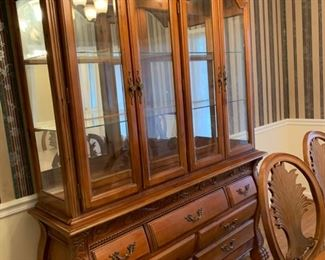 """#2Fairmount lighted china cabinet. 7 drawers. Excellent condition! 64""""x17.5""""x89""""  $325.00"""