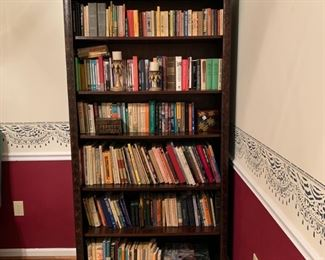 """#5Dark wood carved bookcase. Solid wood. 42""""x14""""x82"""" $75.00"""