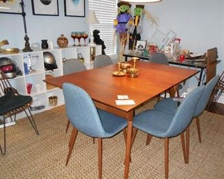 dining room table with insert, book shelf's, carpet, chairs are NFS