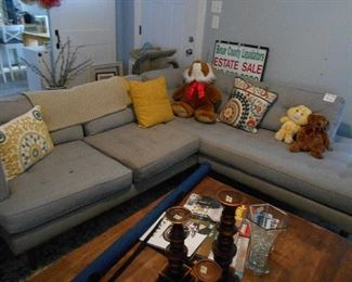 sectional couch, misc. solid wood coffee table