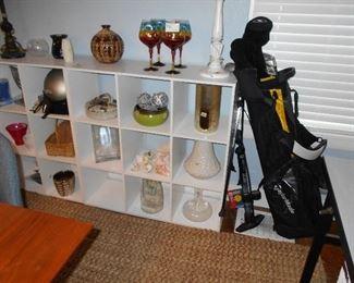 book shelf's, misc. Golf set, air pump