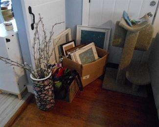 picture frames, cat condo etc., floor vase